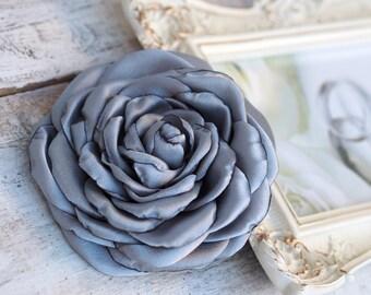 Grey Hair Flower, Gray Hair Clip, Grey Flower Brooch, Grey Silver Hair Flower, Elegant Fabric Flower