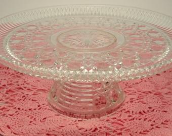 Vintage Wedding Cake Stand Pressed Glass Pedestal Cake Stand Vintage Bridal Shower Tea Party