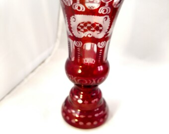 Bohemian Etched Cranberry Vase