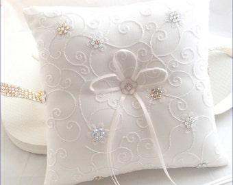 Traditional Wedding Ring Bearer Pillow w/ Custom Swarovski Crystal Rhinestone Flower Jewels White or Ivory Bridal Satin Ribbon Lace Gift