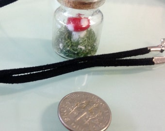 Mini glass bottle terrarium necklace
