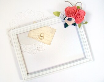Wedding Sign Frame, Decorative Frame, Wedding Prop, Escort Card Display, Chalkboard frame, White Coral Felt Flower Decoration Rustic Garden