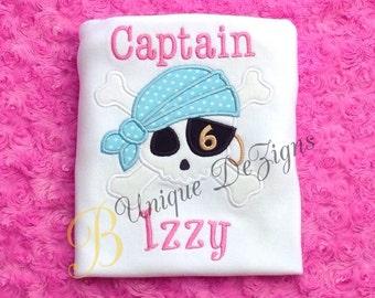 Applique Pirate Skull and Crossbones Shirt, Girls Pirate Birthday Shirt, Captain Shirt or Bodysuit, Tops