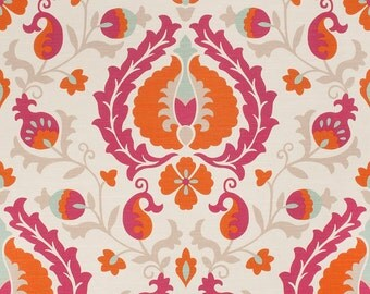 Pink Linen Upholstery Fabric Artistic Grey Pink Bird Fabric
