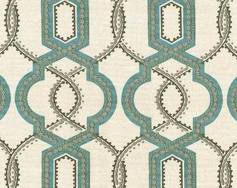 ON SALE - Robins Egg Blue Trellis Upholstery Fabric