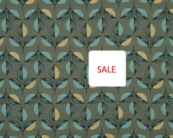 Fabric On Sale - Modern Aqua Yellow Upholstery Fabric with Leaves