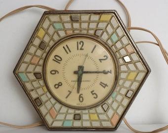 Old School Metal Mosaic Mad Men 50's clock