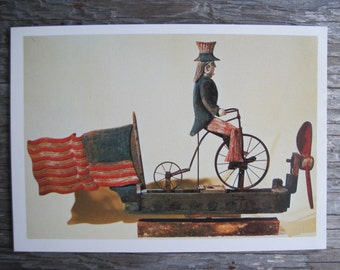 Uncle Sam Riding a Bicycle Whirligig, New England Postcard Reproduction, c. 1876-1900, Antique Folk Art Postcard, 4th of July, Americana