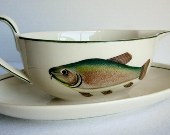 Vintage Villeroy and Boch Atlantic Gravy Boat, Fish Gravy Boat, Gravy Boat with Saucer,