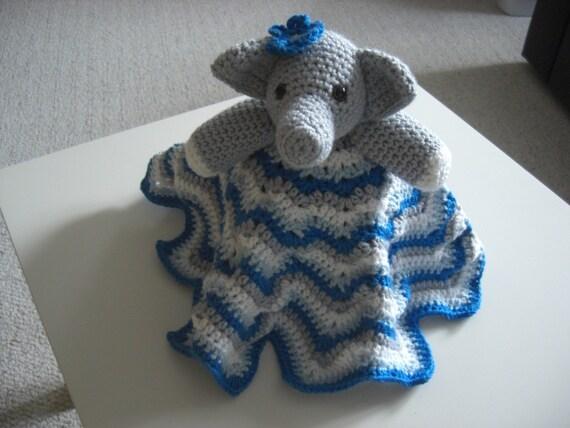 Crochet Elephant Lovey Baby Security Blanket Slatewhite - photo#10