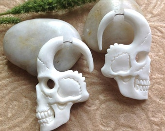 "Fake Gauge Earrings, ""Pale Faces"" Natural, Bone, Handcrafted, Tribal"