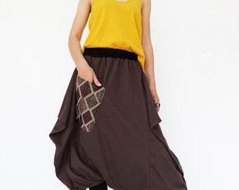 NO.206 Brown Cotton Jersey Cool Unique Pocket Harem Pants, Trendy Drop-Crotch Trousers, Unisex Pants