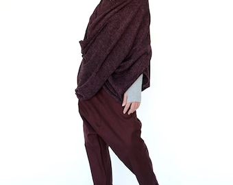 NO.104 Plum Knitted Cross Front Sweater, Maroon Red Knitted  Pullover, Wrap-Front Top, Women's Sweater