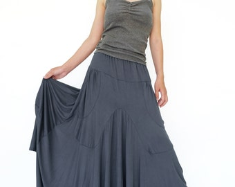 NO.136 Gray Rayon Spandex Softly Softly Asymmetrical Skirt, Long Maxi Skirt