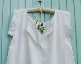 French, Antique, Cotton, Night Dress, circa 1910 - 1930. nightie, night gown, sleepwear, antique, comfort, sleep, clothing, pyjamas,