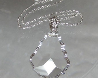 "SALE Crystal Clear German Baroque 50mm (2"") Crystal Pendant Symmetrical Necklace"