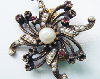Antique Jeweled Unique Flower With Center Pearl Brooch Pin Jewelry