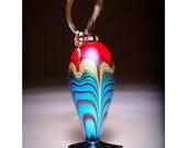 Jack Pine Hand Blown Glass Hummingbird Feeder Red Top Spiral