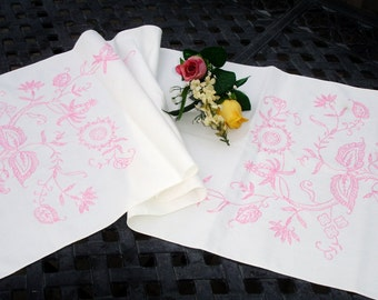 """Embroidered tablerunner or dresser scarf; pink and white embroidery, cottage chic, girls room, floral embroidery, shabby chic, 40x14.5"""""""