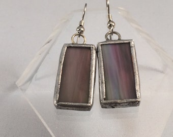 Mauve Stained Glass Earrings, Recycled Stained Glass Earrings,  Stained Glass Earrings, Glass Earrings