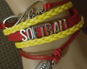 Red and Yellow Softball Infinity Love Leather Bracelet