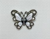 Butterfly Rhinestone Needle Minder Black and White