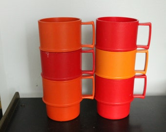 Set of 6 Vintage 1312 Stacking Tupperware mugs, Cups RED and ORANGE, stacking mugs