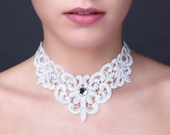 White lace necklace with Swarovski crystal stone.