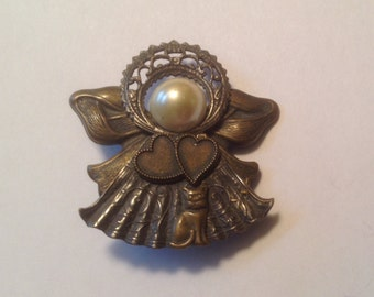 Angel and Cat Pin Brooch Guardian Angel Cat lover