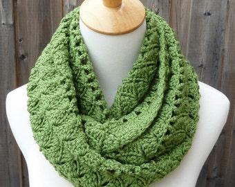 Grass Green Infinity Scarf - Avocado Green Infinity Scarf - Crochet Infinity Scarf - Circle Scarf - Ready to Ship