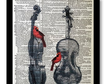 Bird Print- Red Cardinals- Violin Prints, Viloin Art Mixed Media art print on 8x10 Vintage Dictionary page, Violin Prints , Dictionary print