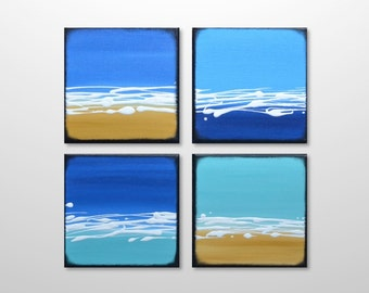 Abstract Acrylic Beach Ocean Seascape Painting Home Decor - Original Blue, Turquoise, Yellow Wall Art - Square Small Canvas