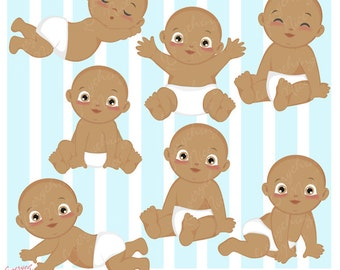 African-american Baby Boy Infant Clipart Set