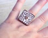 Square Ceramic Arabesque Ring Statement White Brown Filigree Ajustable Ring