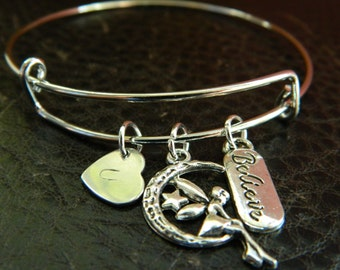 Personalized Initial I Believe In Fairy Bangle Bracelet.Adjustable.Gift