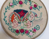 Hand Embroidered hoop art.... Elephant and Bronze painted hoop