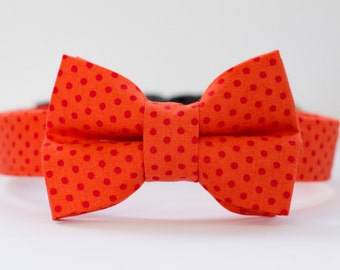 Spring Dog Collar with Bowtie - Pumpkin Orange Polka Dot