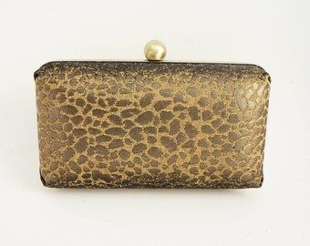 Gorgeous Gold Bronze Leopard Print Minaudière Box Clutch - Evening/Bridesmaid/Prom/Wedding Purse - Includes Chain - Made to Order
