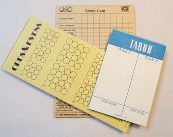 Vintage Game Score Paper Pads: Taboo, Uno and Odds & Even, Partially Used