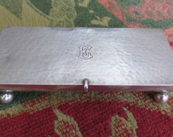 Antique Shreve & Co. Sterling Silver Stamp Box, 3 Compartments, Hammered Finish, Ball Feet, 90.9 grams, Mono E