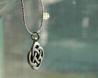 Celtic Friendship Knot ~ Silver, Pendant Necklace, Endless, Symbol, Soul Mates, Kindred Souls