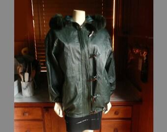 Vintage 80s 90s Deerskin Quality Leathers Green Fur Parka Jacket Coat L
