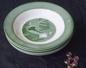 Vintage Soup Bowls ,Royal China Bowls, Colonial Homestead Pattern  ( 1950 ) Set of  4