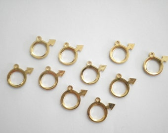 10 Vintage Goldplated 14mm Circle with Arrow Charms