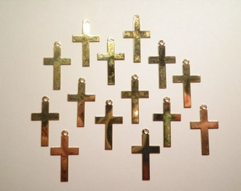 14 Goldplated 25mm Cross Charms