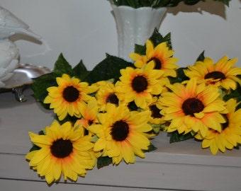 """6 Silk Sunflowers Bunches 8"""" Yellow Sunflowers"""