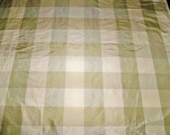 SCALAMANDRE BARANZELLI LILIANA Silk Taffeta Check Fabric Remnant Willow Green Cream