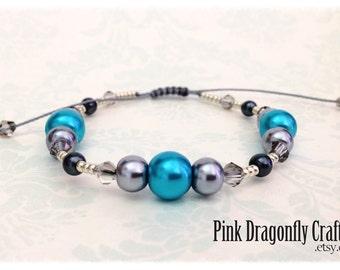 Blue Grey and Black Glass Pearl Beaded Adjustable Bracelet - BR6