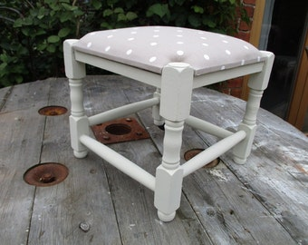 Farmhouse Style Vintage Footstool -Shabby Chic