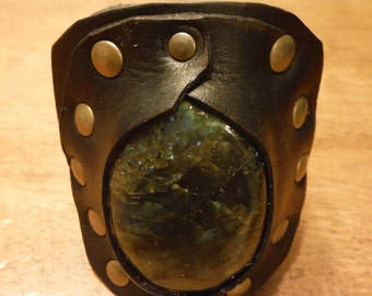 SALE Labadorite Thick Leather Cuff, Rugged Leather Stone Crystal Bracelett, Suede-lined